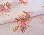 Vintage Fabric Yardage Parrots on Pink Fine Cotton Fabric