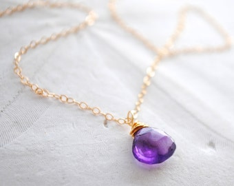 Amethyst Teardrop Necklace. Gold Filled or Sterling Silver Chain. Bridesmaids Necklace.