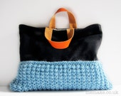 Wool bag black grey wool tote blue chunky knit large purse orange leather handles memake handmade fashion