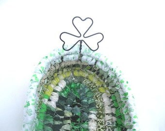 IRISH LUCK  hand coiled textile art BASKET with shamrock handle