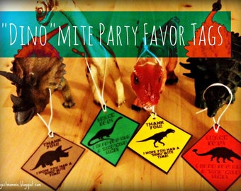 "PDF: Dinosaur Party Favor Tags 2"" x 2"" - Digital File DIY Printable"