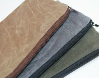 Waxed Canvas Zipper Case, Ideal for Cosmetics, Eyeglasses Case, Pencil or Pens Case -  Available in 8 Colors