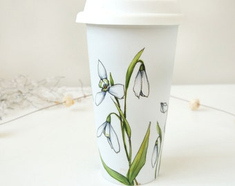 Eco-Friendly Ceramic Travel Mug - Snowdrops | Botanical Collection