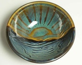 Glazed Stoneware Bowl Sunset Sunrise Design Kitchen Serving Blue Water