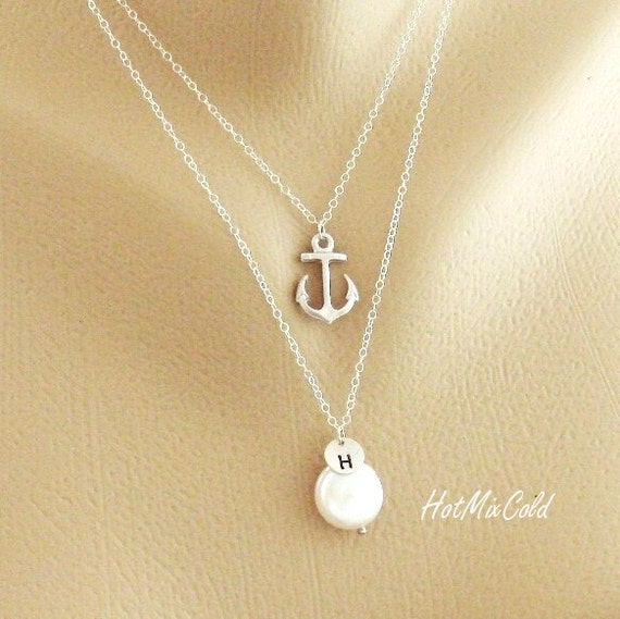 Layering Necklace, Silver Initial Necklace, Anchor Charm Necklace, Personalized Pearl Jewelry, Silver or Rose Gold Layered Necklace