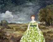 at night rebecca wore dresses of jasmine and primrose - limited edition print of original oil painting