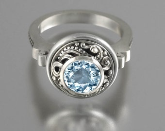 OLGA 14K white gold ring with Aquamarine