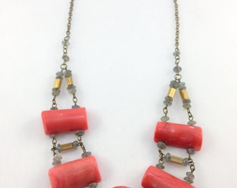 Coral, Labradorite, and Bone  with Brass Metal Square Tube Bead Necklace (QDWD)