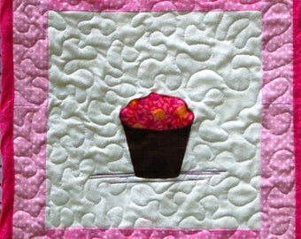 Awesome Cupcake quilted wall hanging