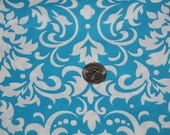 Turquoise and White Damask Fabric - One Yard - Marshall Dry Goods