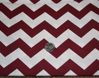 "7/8"" wide CHEVRON - Marshall Dry Goods Fabric - One Yard plus - Maroon and White"