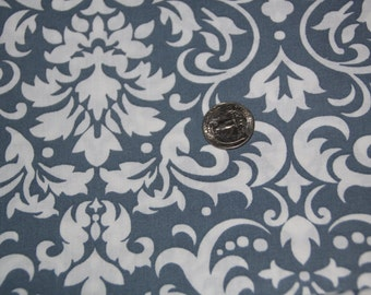 Gray Blue and White Damask Fabric - One Yard - Marshall Dry Goods
