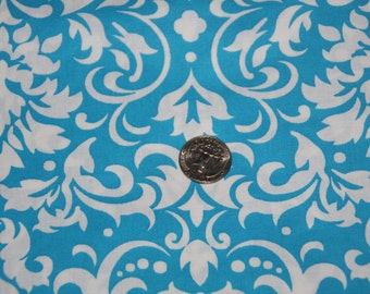 Turquoise and White Damask Fabric - One Yard - Marshall Dry Goods