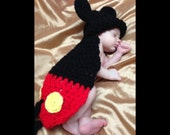 Crocheted Mouse Boyl Cover  - Newborn Photo Prop Body Cape and Hat - Crochet Baby Snuggle Rug