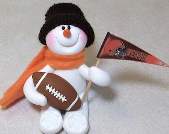 Cleveland Browns football snowman ornament