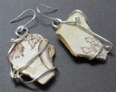 Brown China Sea Glass Earrings with Silver