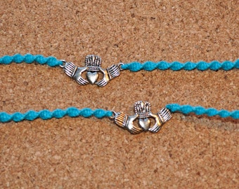 Pacific Blue and Silver Claddagh Tie Ons