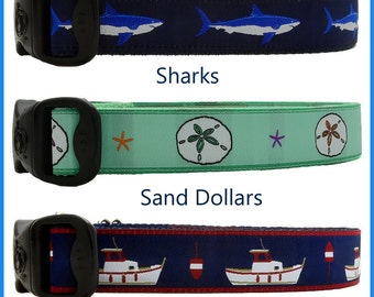 Lobster Boat Dog Collars, Great White Shark Dog Collars, Starfish Dog Collars, Sand Dollars Dog Collars, Buoy Dog Collars, Boating Collars