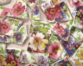 VINTAGE ENGLISH CHINTZ China Mosaic Tiles - Kent Du Berry - Very Rare - Hard To Find and Gorgeous! Rich Colors - Floral - Flowers