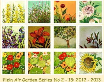 Plein Air Garden Series - CHOOSE 1 or MORE - Fine Art Prints on Paper by Jenlo, 8x8 inch