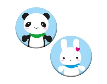 Bunny & Panda Badge Set - 2 kawaii animal badges