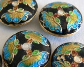 SALE 6 8x18mm Handmade Cloisonne Beads Gold Plated Brass Butterfly  Black b2863