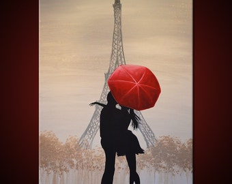 "Original Art French Painting Large Paris France Love Red Umbrella .... 24 x 36 ... titled ""Love In Paris"", by Amy Giacomelli"