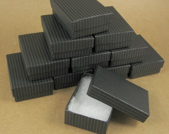 Black Striped Chipboard Jewelry Gift Boxes - Set of 24  / 3 1/4 x 2 1/4 x 1 Inch