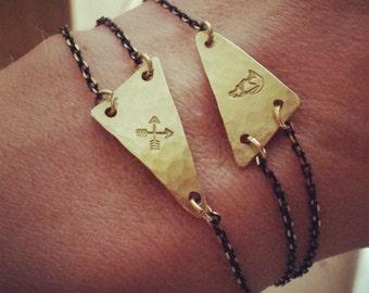 Geometric Brass Bracelet - Custom Stamped Triangle -  Native Bohemian Bracelet - Wolf Coyote
