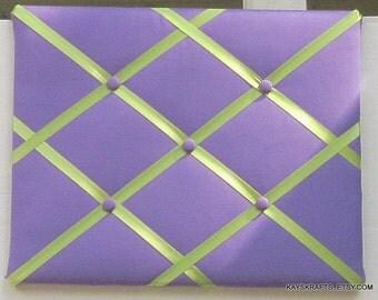Lavender and Green Memory Board French Memo Board, Fabric Ribbon Bulletin Board, Ribbon Photo Board,  Girls Bedroom Decor