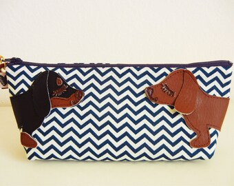 Custom Teriyaki and Mimi the Pug Navy Blue Chevron Stripes Cotton Canvas Case with Vinyl Applique