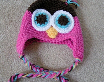 Baby Owl Hat  Crochet  in Pink and Brown size 0 to 3 months Ready to Ship