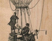 Steampunk hot air balloon with men rubber stamps script air ballon transportation  wood mounted 19002