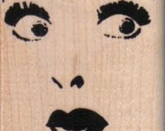 Woman facial features face   stamp   wood Mounted   rubber stamp    stamp number 630
