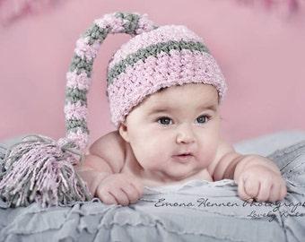 0-3 Month Tassel Elf Striped Hat Baby, Newborn Photography Prop