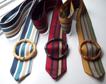 Colorful Striped Ribbon Belts with Bamboo Buckles