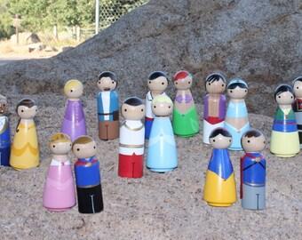 Princess and Prince FULL SET of 16- Pegbuddies Wood Peg Doll Peg People Birthday Cake Topper