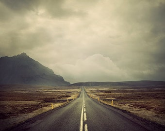 "Large Landscape Photography, Open Road, Travel Print, Mountain Decor, Iceland, Wanderlust Print, Wall Art ""A Beautiful Adventure"""