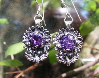 Sterling Silver Sunflower Earrings With Amethyst