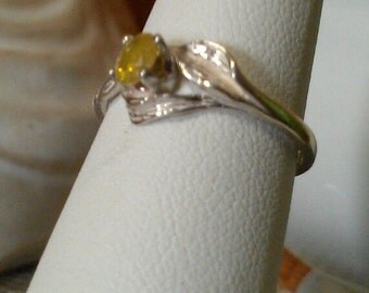Carnary Yellow Diamond and sterling ring