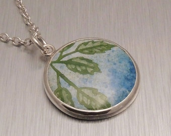 Enamel and Silver Pendant - Blue Sky and Green Leaves