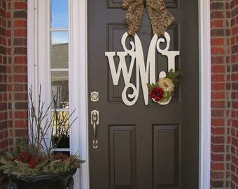 Custom MONOGRAM door wreath / BURLAP bow/ red cream color/ Block AND Script/ & Custom Single MONOGRAM door hanger / BURLAP bow/ House warming pezcame.com