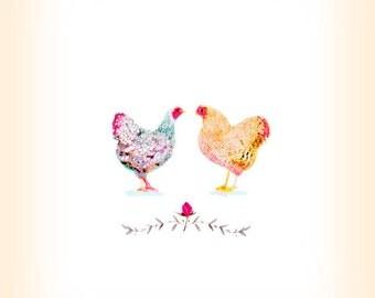 Paired Chicken Hen Print - Farm Chickens Art - Kitchen Art -