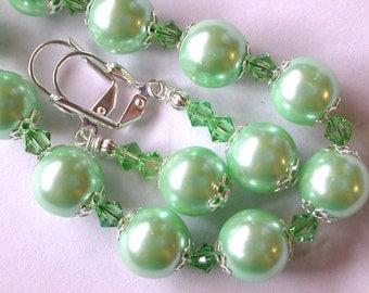 Green Pearl  Bracelet and Earring Set