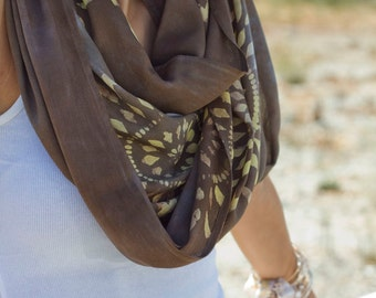 RESERVED FOR LIZ Bali Circle Scarf in Tea Leaves with Discharge Pattern