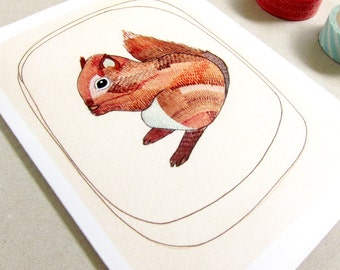 Greeting Card - Squirrel Greeting Card - Everyday Card - Blank Squirrel Card - New Baby Card - Blank Card - Little Squirrel