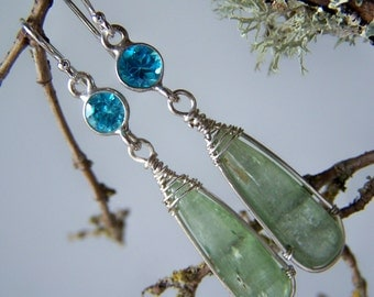Green Kyanite elongated briolette,  blue topaz, french earwire, earrings