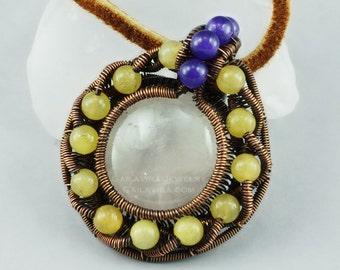 Rose Quartz, Amethyst, Yellow Quartz and Copper Pendant/Necklace - CLEARANCE