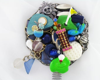 OVER 50% OFF! - Hand Mirror - Golfer's Dream - Repurposed Jewelry - M000656