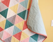 Coral GEOMETRIC triangle quilt by PETUNIAS blanket crib nursery decor baby shower gift newborn photo prop hipster modern chevron gray